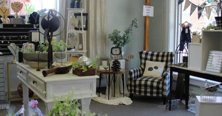 Home decor and jewelry items on display in The Gift Market in downtown New Philadelphia, Ohio
