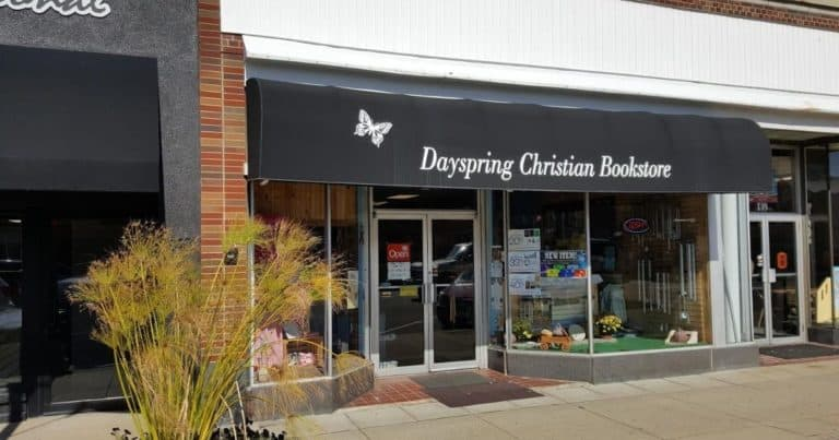 Store front view of Dayspring Christian Bookstore